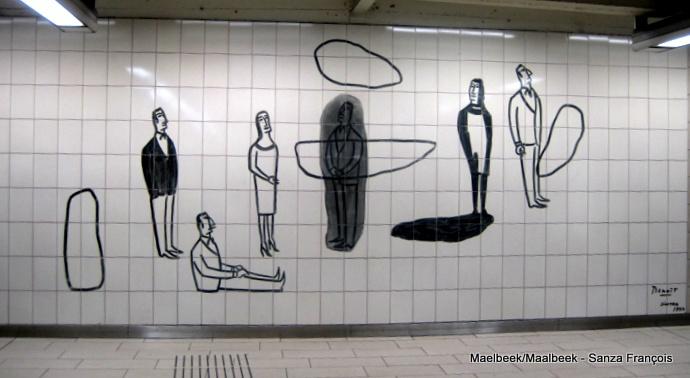 benoît van innis,bd,bdmurale,bd murale,fresque,portraits,art mural,métro maelbeek,fresque murale